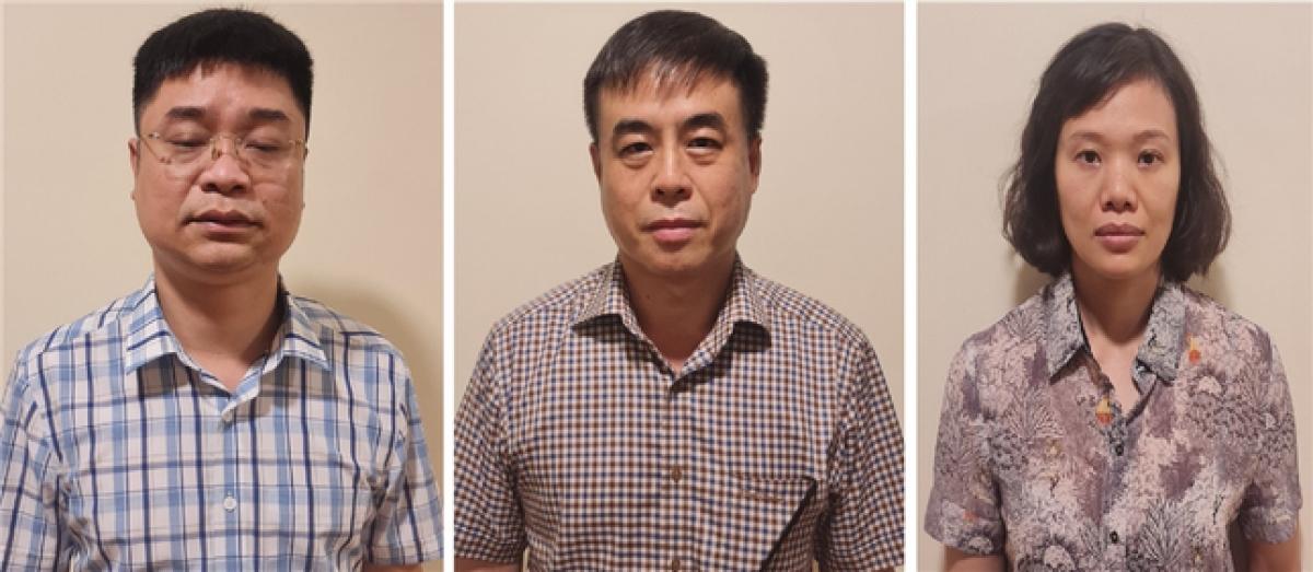 Các bị can Lê Việt Phương (trái), Phạm Ngọc Hải và Thành Thị Đông Phương. Ảnh: Bộ Công an.