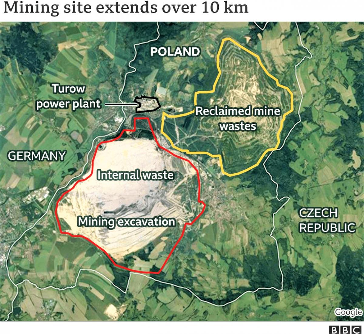 Mỏ than non Turów nằm gần biên giới 2 nước Đức, Séc và Ba Lan. Nguồn: bbc.com