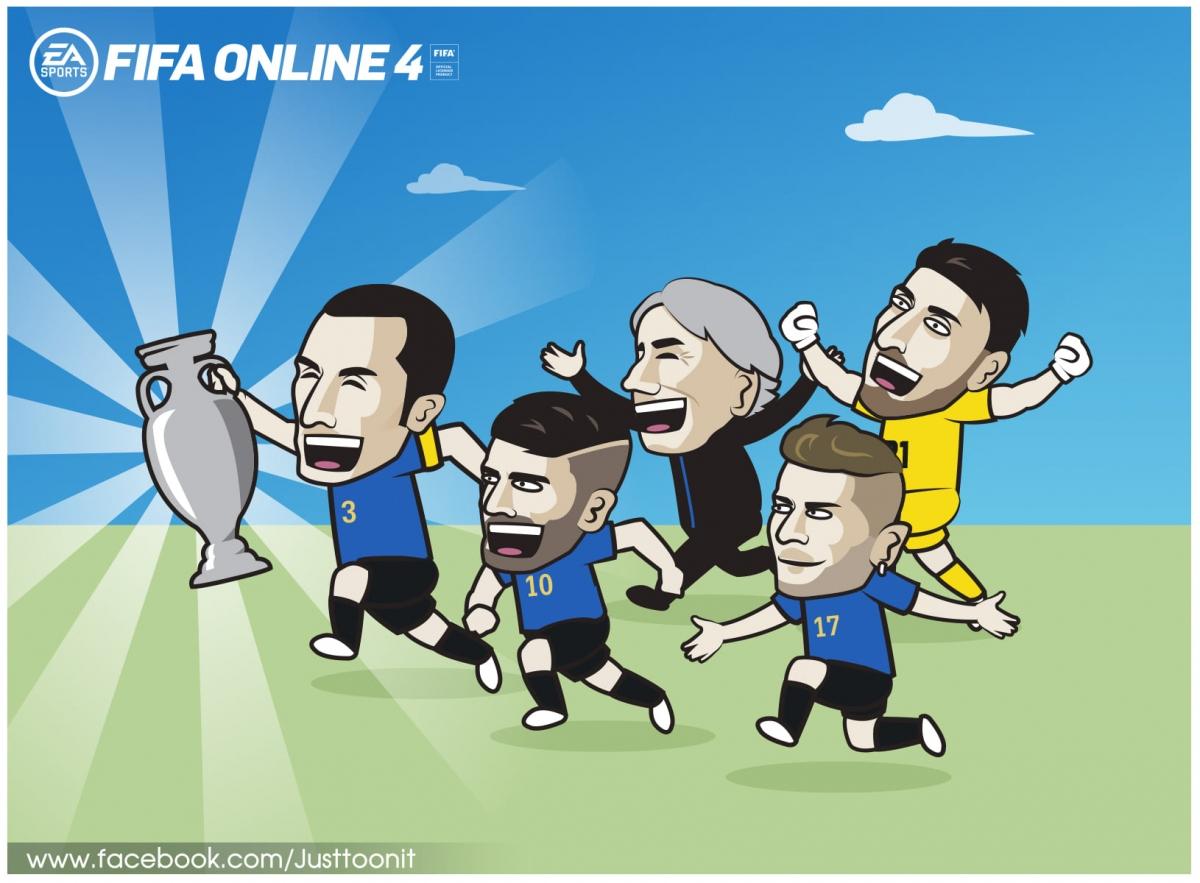 Nhà vua mới của bóng đá châu Âu. (Ảnh: Just Toon It)