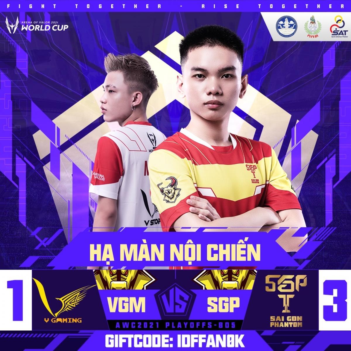 """Saigon Phantom thắng 3-1 trước V-Gaming ở màn """"huynh đệ tương tàn"""". (Ảnh: Cao thủ Liên quân)."""