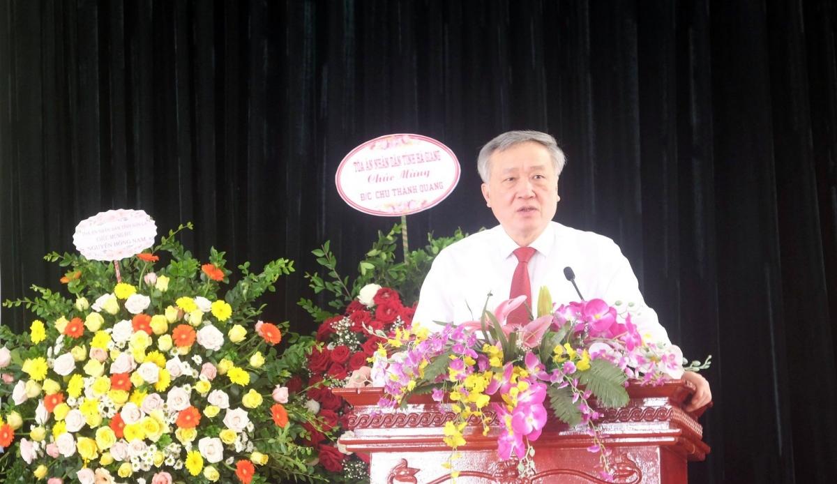 Chánh án TAND Tối cao Nguyễn Hòa Bình phát biểu tại buổi lễ