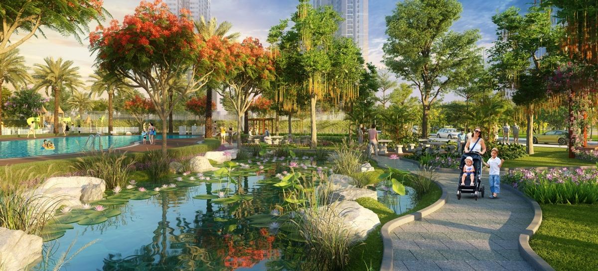 Không gian sống xanh, yên bình tại dự án được khách hàng yêu thích.