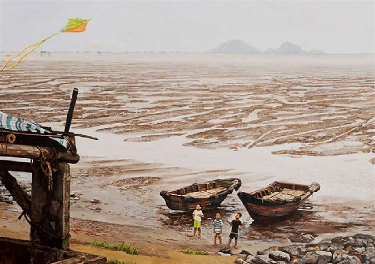 """A painting by Pham Binh Chuong that is featured at the """"Story of the River"""" online exhibition (Photo: Courtesy of organizer)"""