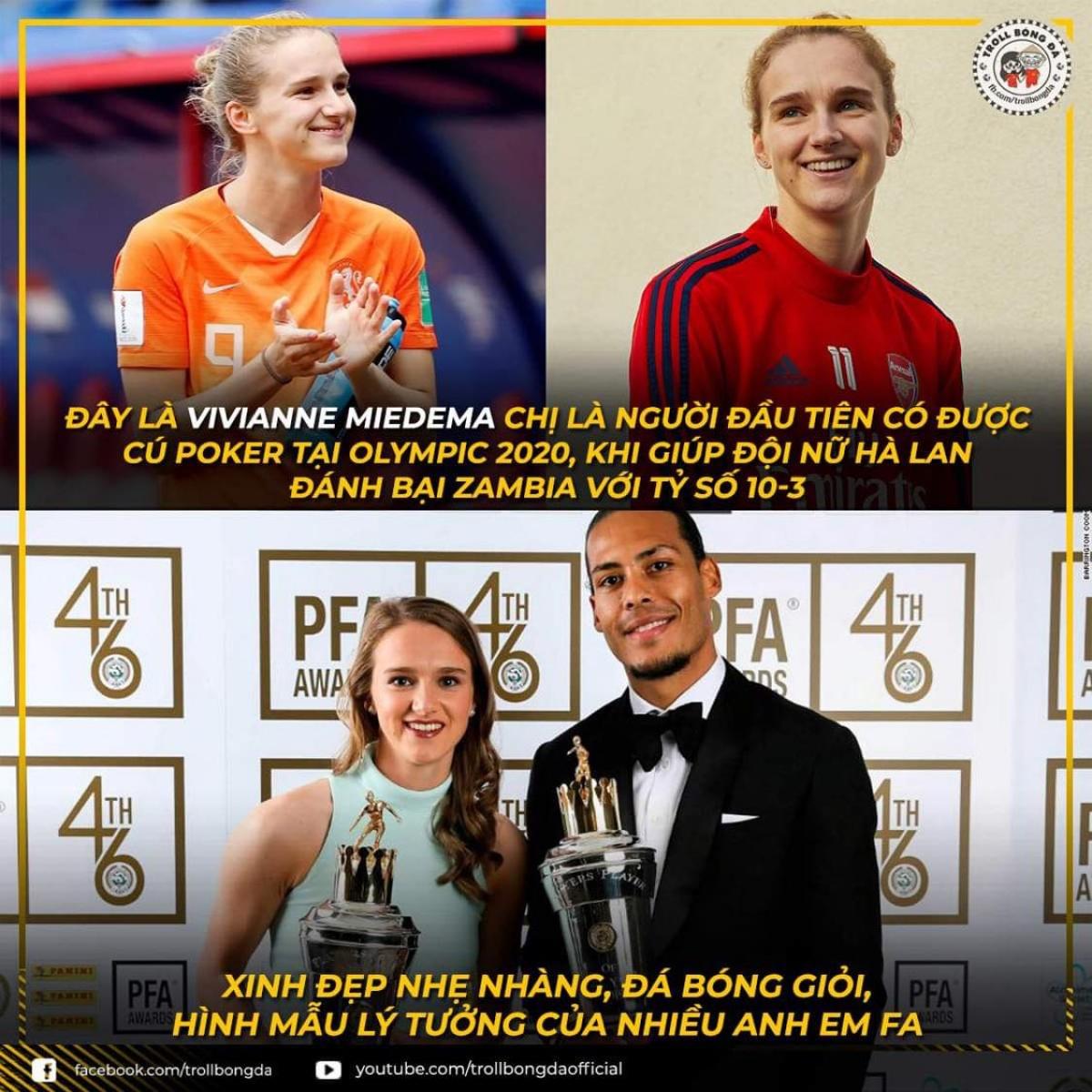 Nữ cầu thủ Hà Lan thu hút sự chú ý của người hâm mộ. (Ảnh: Troll bóng đá).