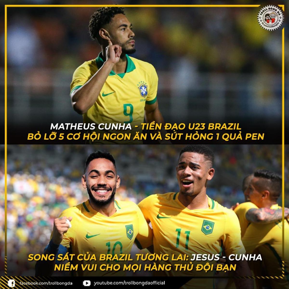 """Matheus Cunha - tiền đạo """"chân gỗ"""" mới của Brazil. (Ảnh: Troll bóng đá)."""