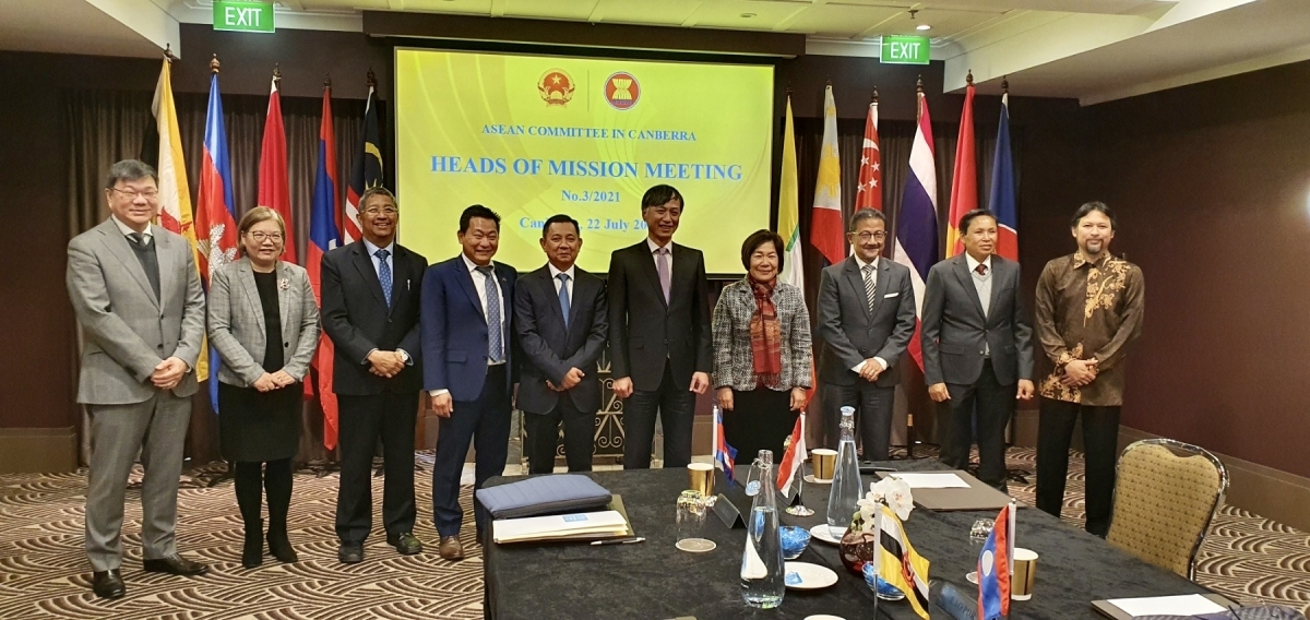 The ACC Heads of Mission pose for a group photo at their third meeting in Canberra on July 22.