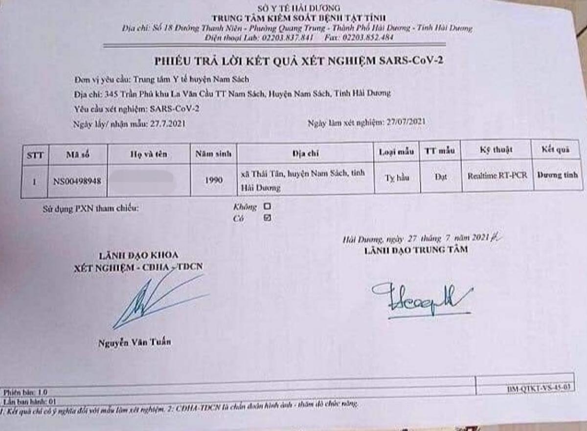 Phiếu xét nghiệm của chị P.T.N., (trú ở thôn Tân Thắng, xã Thái Tân, huyện Nam Sách) cho kết quả dương tính với virus SARS-CoV-2.