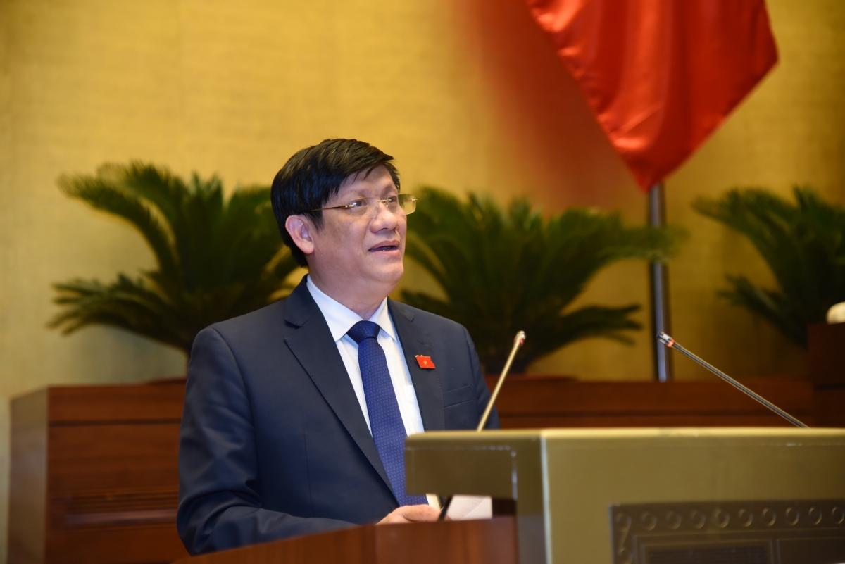 Bộ trưởng Bộ Y tế Nguyễn Thanh Long trình bày tờ trìnhcủa Chính phủ về việc đề xuất một số biện pháp phòng, chống dịch bệnh Covid-19 đưa vào Nghị quyết kỳ họp của Quốc hội