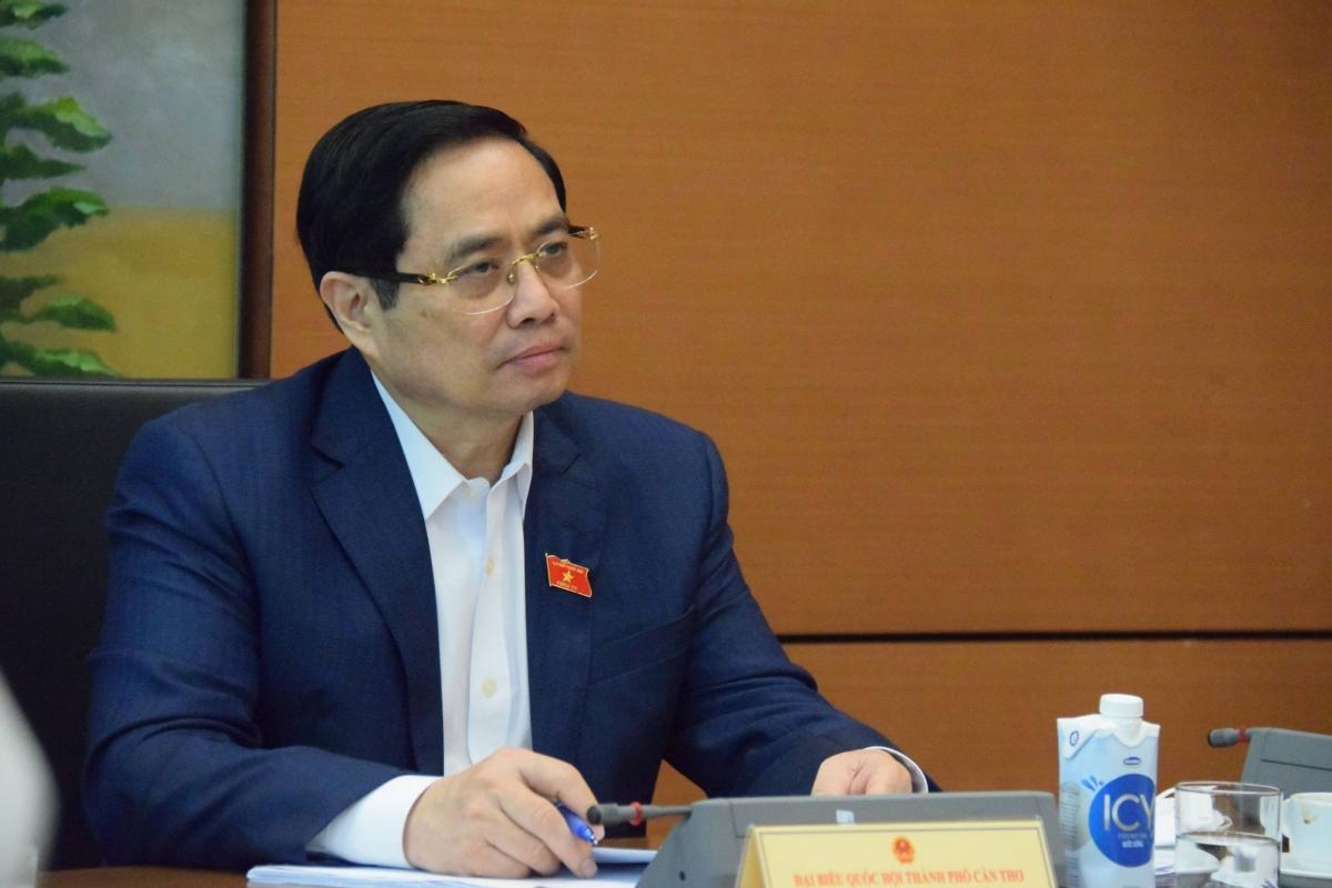 Thủ tướng Phạm Minh Chính dự một phiên họp tổ tại Kỳ họp thứ nhất, Quốc hội khoá XV. Ảnh: Vũ Khuyên