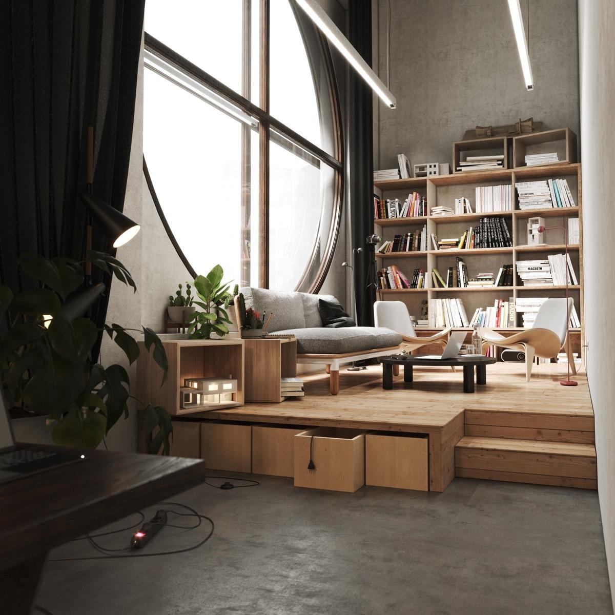 Sàn được nâng lên cao bởi bục gỗ, tạo ra một không gian riêng cho thư viện gia đình. Cửa sổ tròn lớn tạo điểm nhấn, mang lại cho chủ nhân khu vực đọc sách thư thái và ngập tràn ánh sáng.