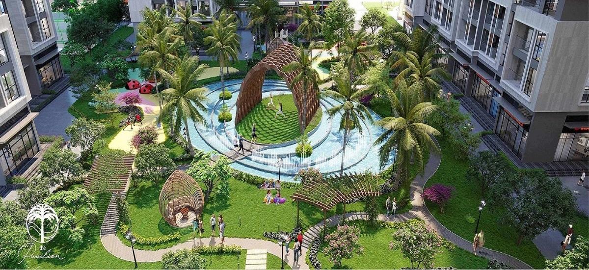 Dưới chân 4 tòa tháp căn hộ The Pavilion là một ốc đảo xanh mát với 2/3 không gian cây xanh, mặt nước, 18 chủng loại thực vật được bố trí theo 3 tầng cây bao phủ từ cao tới thấp