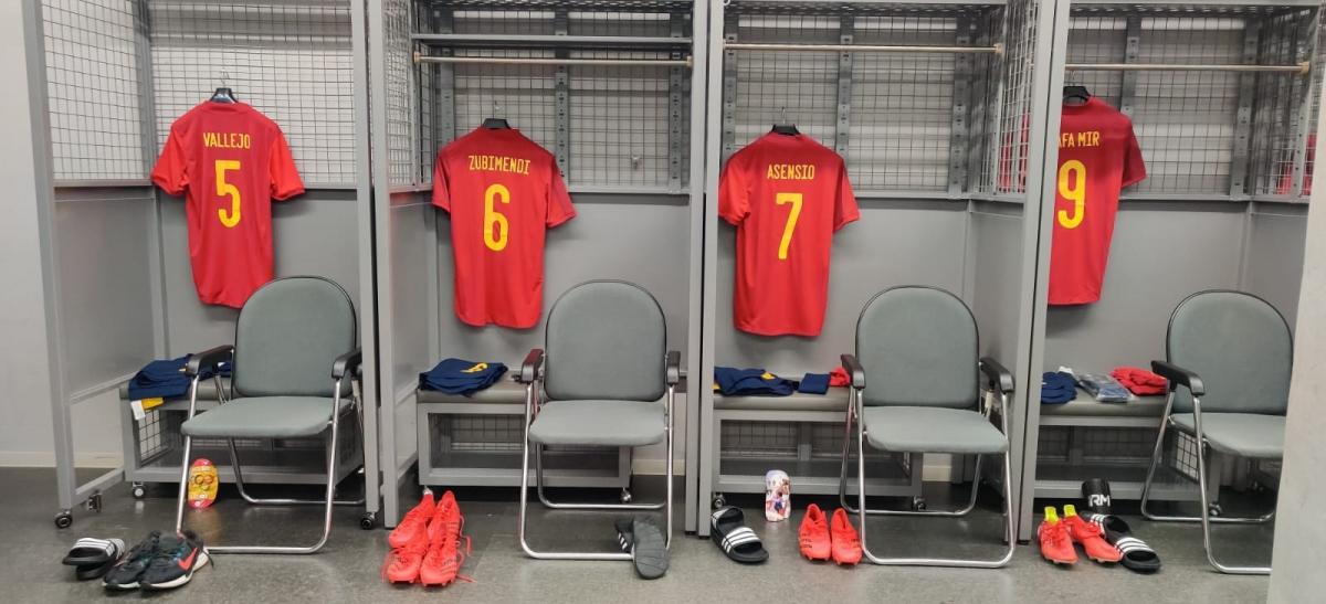 Phòng thay đồ của Olympic Tây Ban Nha trước trận đấu. (Ảnh: RFEF).