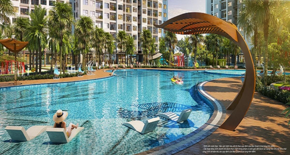 The Miami sở hữu bể bơi ngoài trời rộng tới 1.000m2, là nơi cư dân có thể tận hưởng làn nước trong mát như tại các resort nghỉ dưỡng.