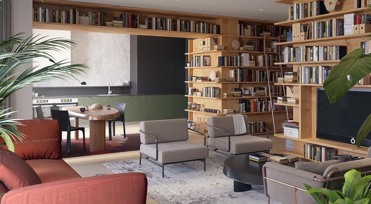 Nếu không gian nhà bạn bị hạn chế cũng đừng vội lo lắng. Hãy cân nhắc đặt làm riêng một giá sách, vừa làm vách ngăn giữa cách phòng vừa là nơi lưu trữ các loại sách.