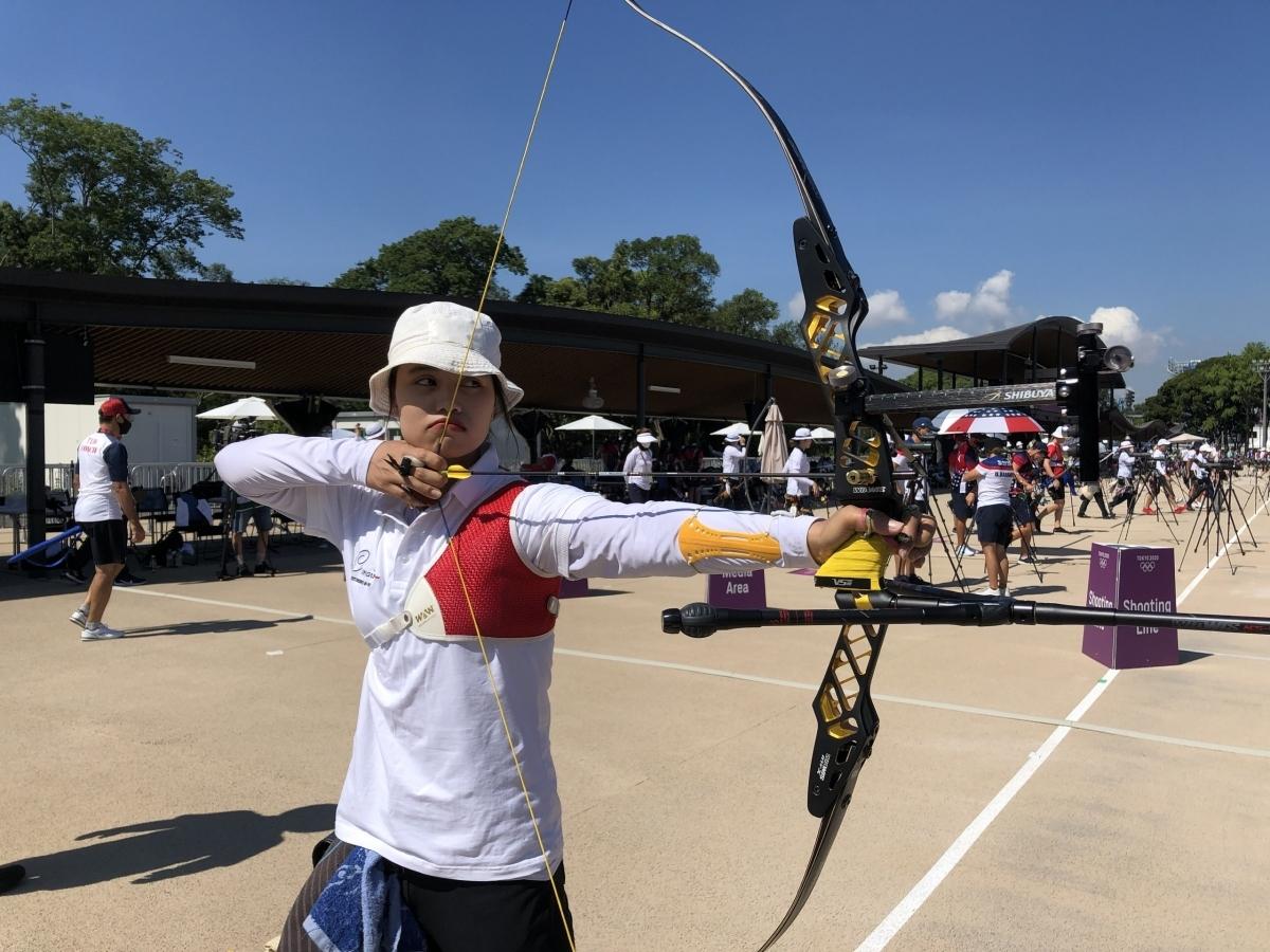 """Cung thủ Ánh Nguyệt """"mở hàng"""" cho đoàn thể thao Việt Nam ở Olympic Tokyo. (Ảnh: Đoàn TTVN)."""