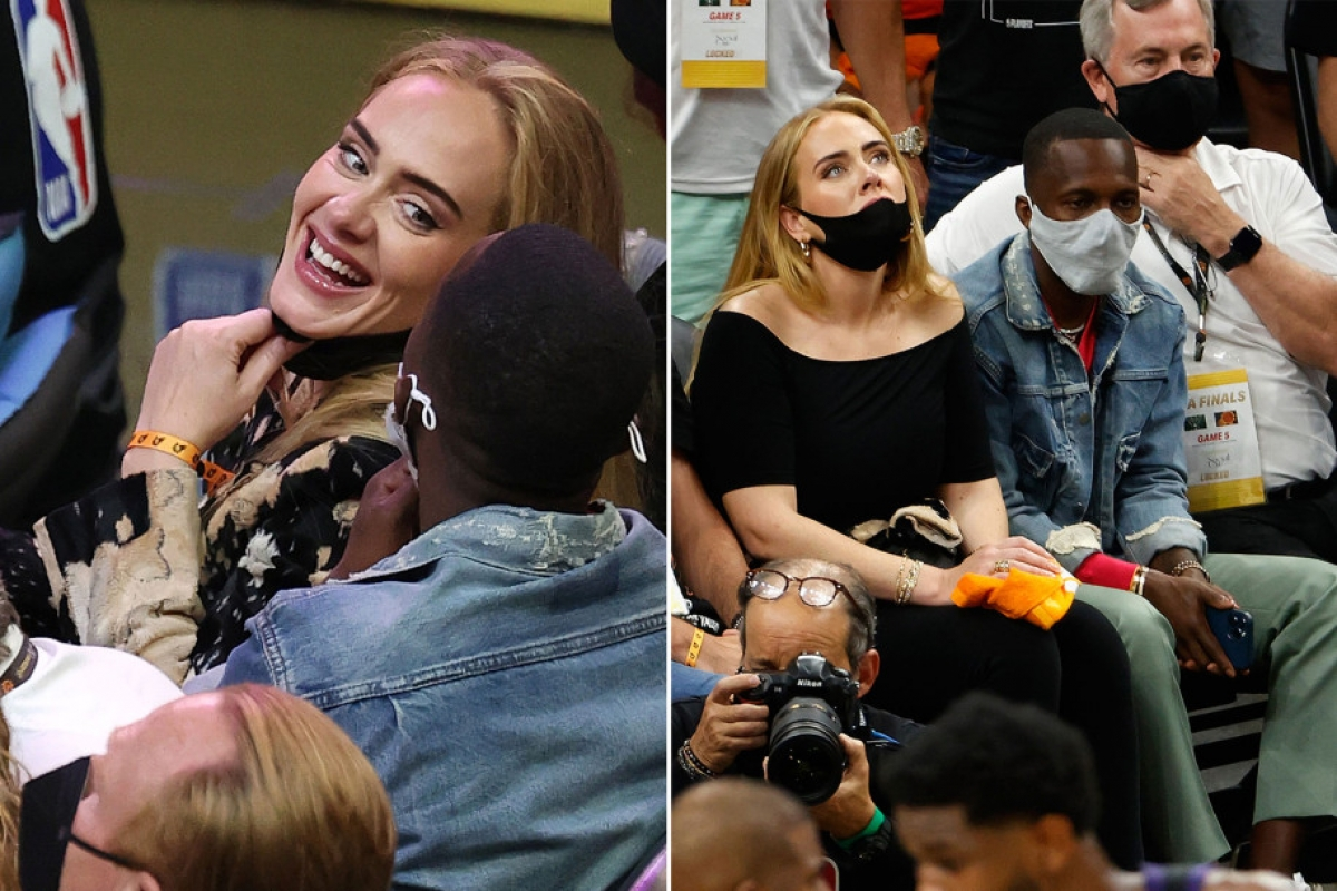 Adele và Rich Paul xuất hiện tại trận đấu bóng rổ. Nguồn: Getty Images