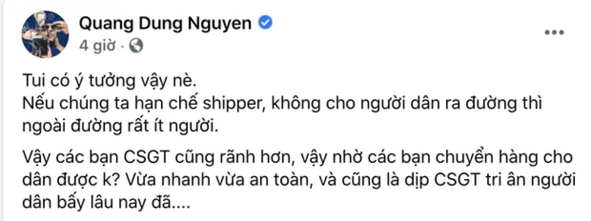 """Bài đăng """"gây bão"""" của đạo diễn Nguyễn Quang Dũng."""