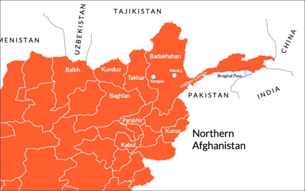 Bản đồ khu vực phía bắc của Afghanistan (màu đỏ), địa bàn hoạt động chủ yếu của Phong trào Hồi giáo Đông Turkestan (ETIM). Ảnh: Facebook.