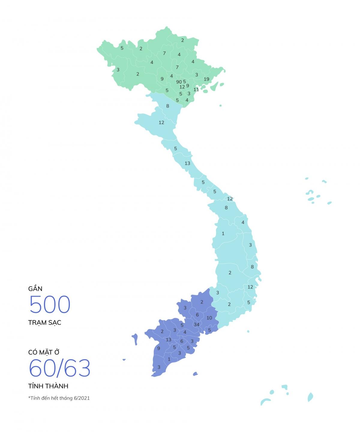 Mạng lưới trạm sạc đã được lắp đặt của VinFast trên toàn quốc.
