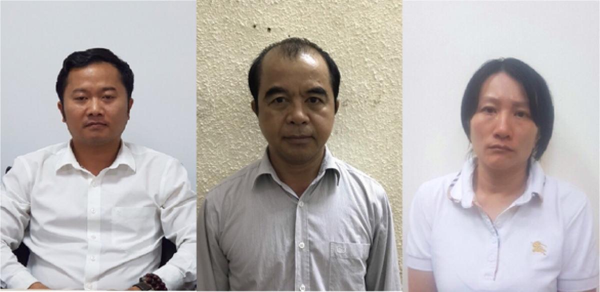 Từ trái qua, các bị can: Dương Văn Hòa, Trần Ngọc Quang và Phạm Vân Thùy
