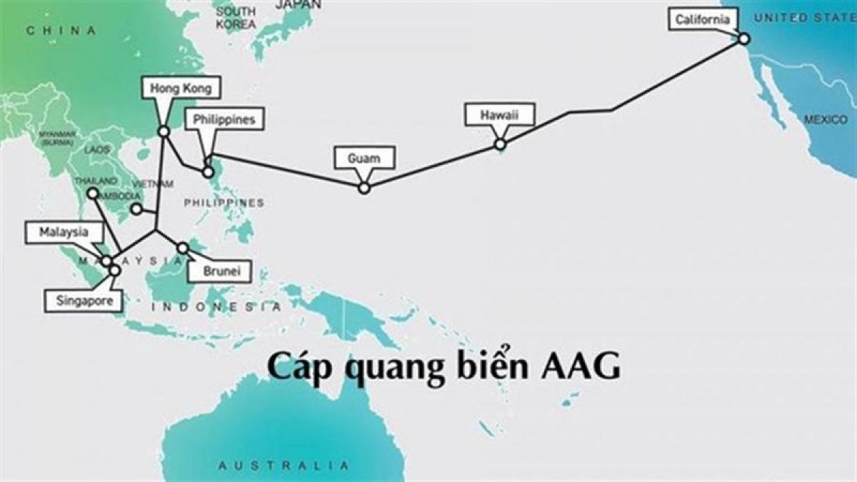Tuyến cáp quang biển AAG liên tục gặp sự cố gây ảnh hưởng đến việc truyền tải internet của Việt Nam và quốc tế (Ảnh: Internet)