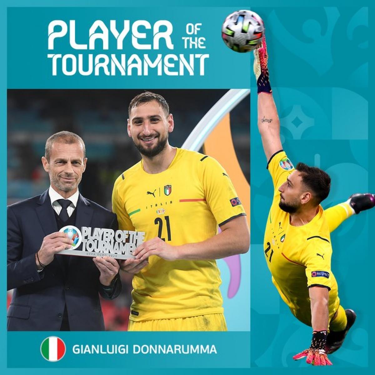 Gianluigi Donnarumma nhận danh hiệu Cầu thủ xuất sắc nhất EURO 2021 (Ảnh: UEFA)
