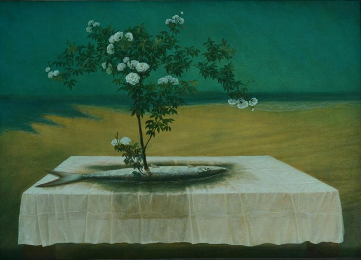 """Bức tranh """"Cây đời mãi xanh"""" của họa sĩ Vũ Mười gợi mở nhiều suy tưởng về con người và triết lý sống."""