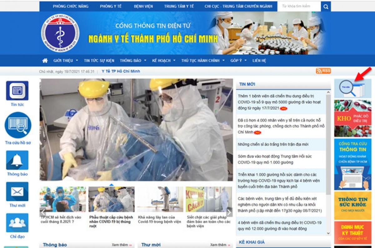 Chức năng tra cứu được tích hợp trên Cổng thông tin điện tử của Sở Y tế