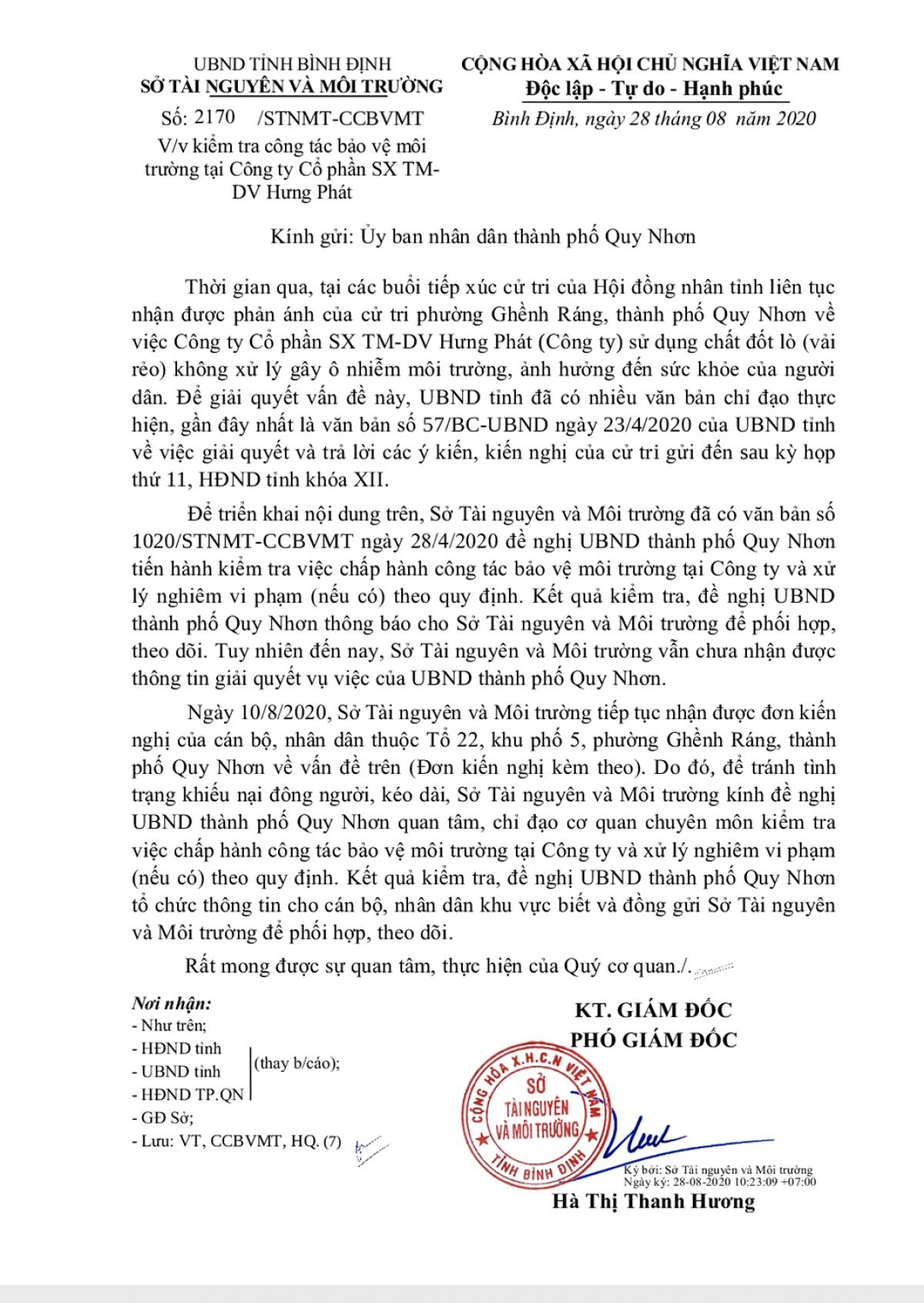 Công văn Sở Tài nguyên Môi trường tỉnh đề nghị UBND Tp. Quy Nhơn về việc kiểm tra công tác bảo vệ môi trường tại Công ty Hưng Phát.