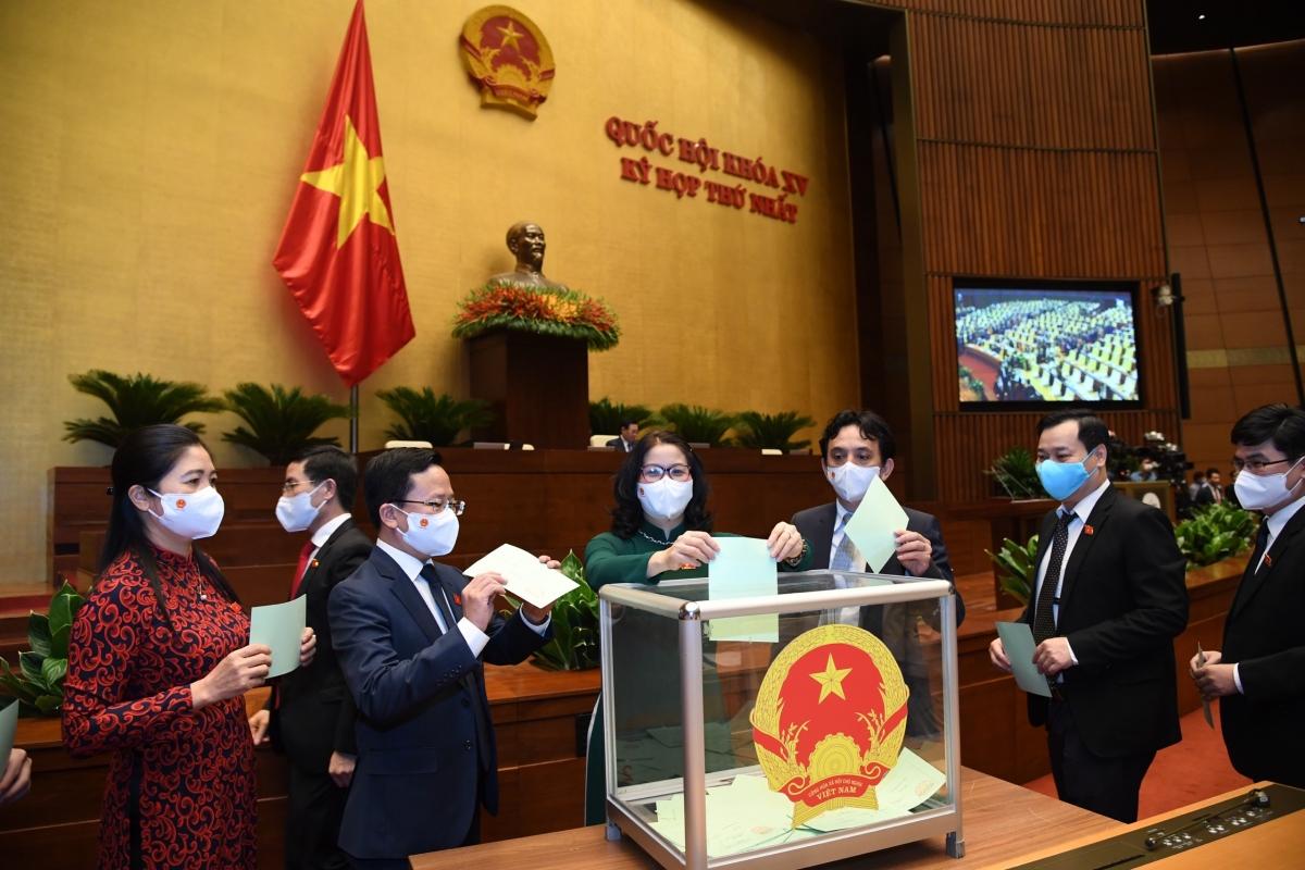 Đại biểu Quốc hội bỏ phiếu kiện toàn nhân sự tại Kỳ họp thứ nhất. Ảnh: Quốc hội