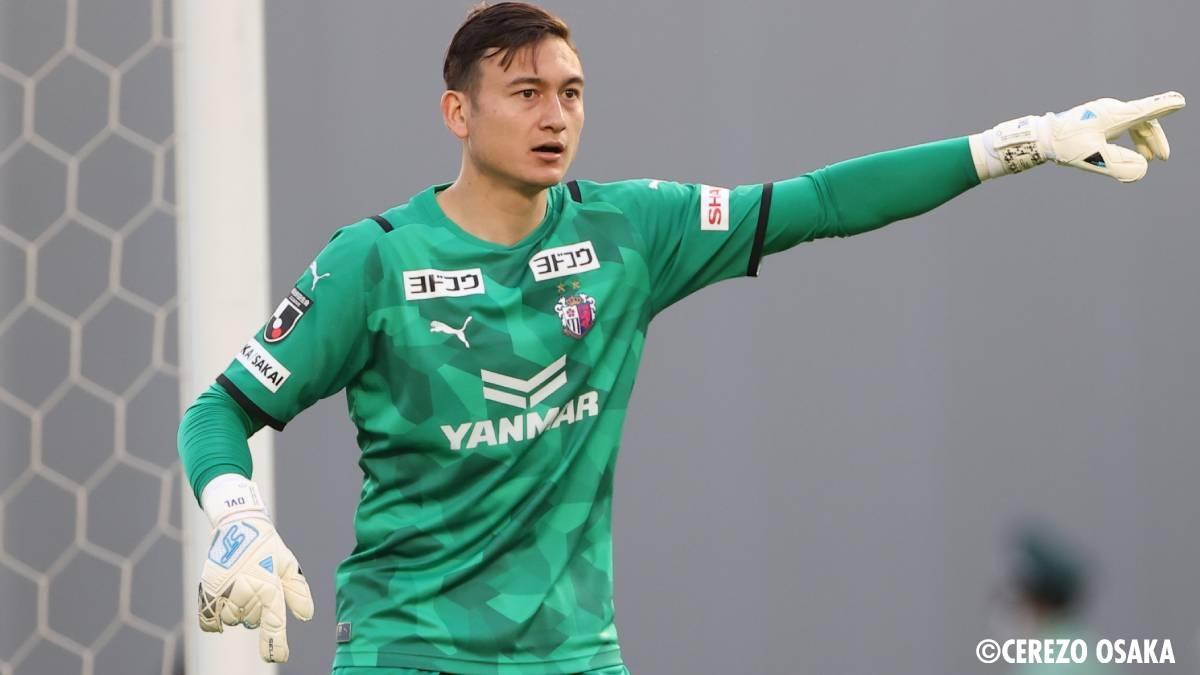 Văn Lâm có thể trở thành cầu thủ Việt Nam đầu tiên thi đấu ở vòng knock-out AFC Champions League. (Ảnh: Cerezo Osaka)