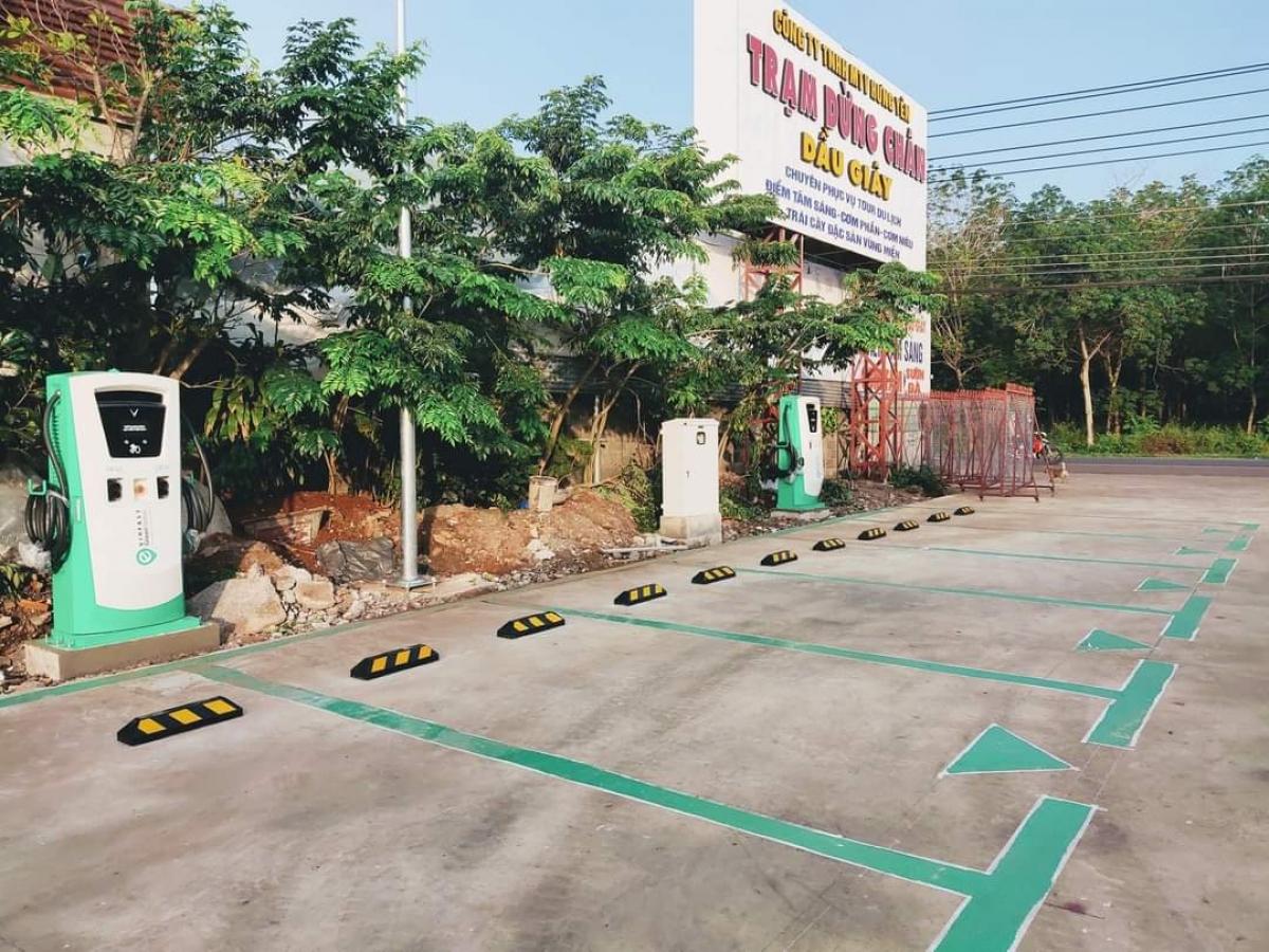 Trạm sạc của VinFast tại Quảng Yên (Quảng Ninh).