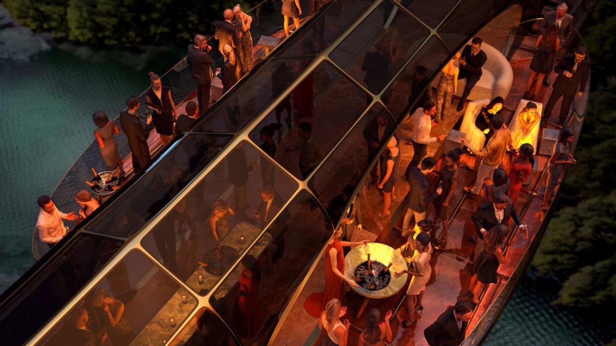 Vách toa tàu có thể gập xuống để tạo ra các mái hiên mở, nơi tổ chức các bữa tiệc và cả những buổi hòa nhạc. Nguồn: Thierry Gaugain