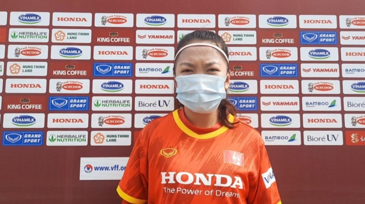 Huỳnh Như và các đồng đội ởĐT nữ Việt Nam quyết tâm đoạt vé vào VCK Asian Cup 2022 (Ảnh: VFF).