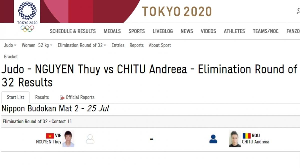 Nguyễn Thị Thanh Thuỷ chuẩn bị thi đấu ở hạng cân 52kg nữ ở môn Judo.