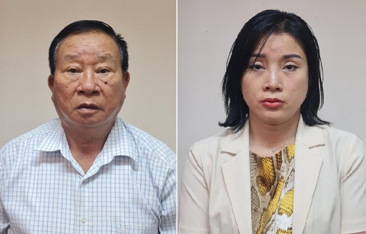 Bị can Phạm Huy Lập và Phạm Thị Kim Oanh.