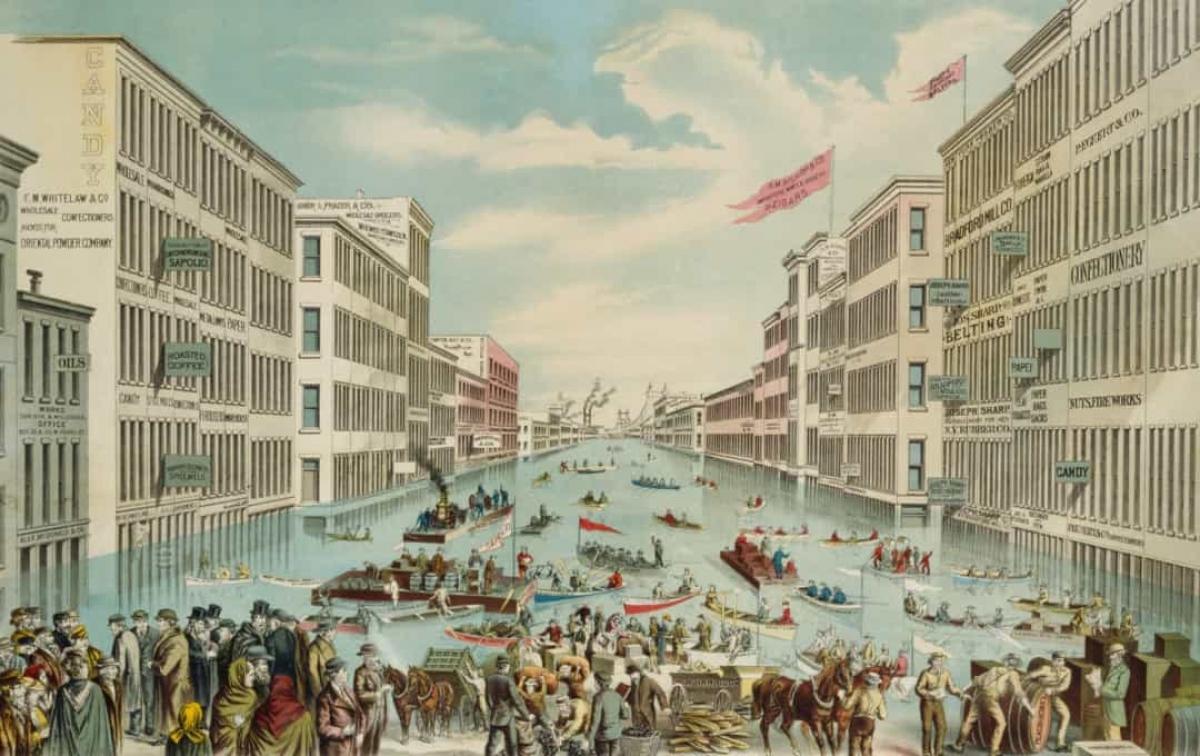 Trận lụt lớn trên sông Ohio năm 1884. Đường phố và đại lộ của thành phố Cincinnati, bang Ohio (Mỹ) đã trở thành sông sau khi sông Ohio vỡ bờ vào tháng 1/1884. Tuyết rơi và mưa lớn đã làm nước sông này dâng cao kỷ lục khiến hàng nghìn ngôi nhà và cơ sở kinh doanh chìm trong nước. Trận lũ lụt đã cướp đi sinh mạng của 10 người.