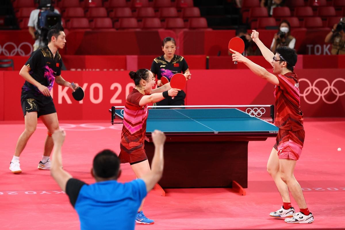 Nhật Bản phá hỏng tham vọng giành trọn 5 HCV môn bóng bàn của Trung Quốc. (Ảnh: Reuters)