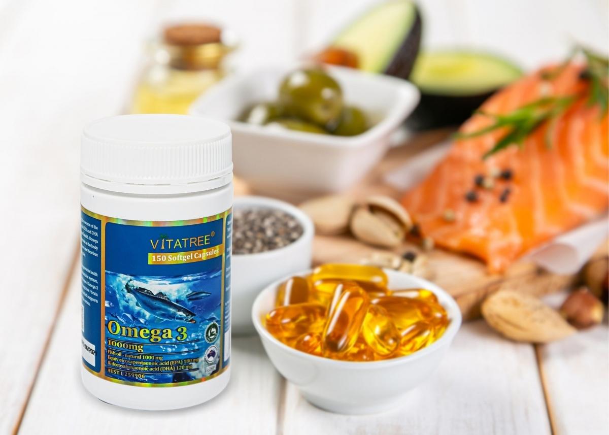 Dầu cá Vitatree của Úc, mỗi viên chứa tới gần 1000mg dầu cá và tới 300mg omega-3.