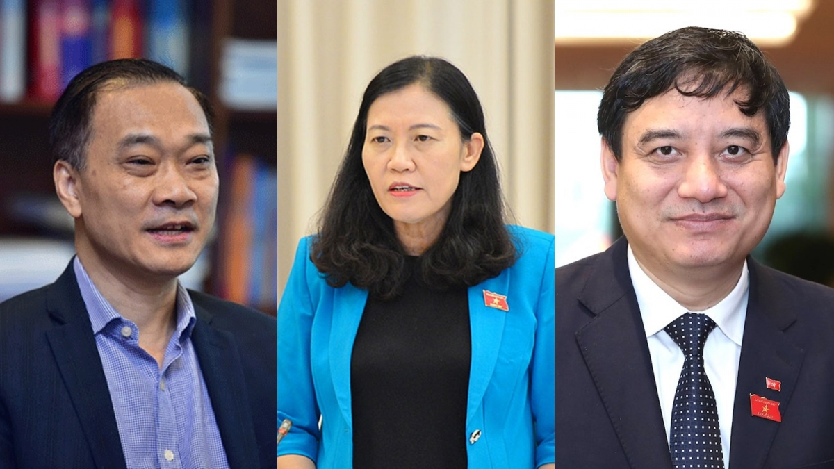 Chủ nhiệm Ủy ban Kinh tế Vũ Hồng Thanh, Chủ nhiệm Ủy ban Tư pháp Lê Thị Nga và Chủ nhiệm Ủy ban Văn hóa, Giáo dục Nguyễn Đắc Vinh (ảnh từ trái qua phải)