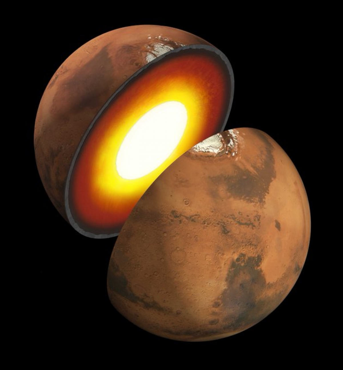 InSight đã lần đầu tiên vẽ được bản đồ bên trong sao Hỏa với một số tiết lộ bất ngờ. Ảnh: NASA