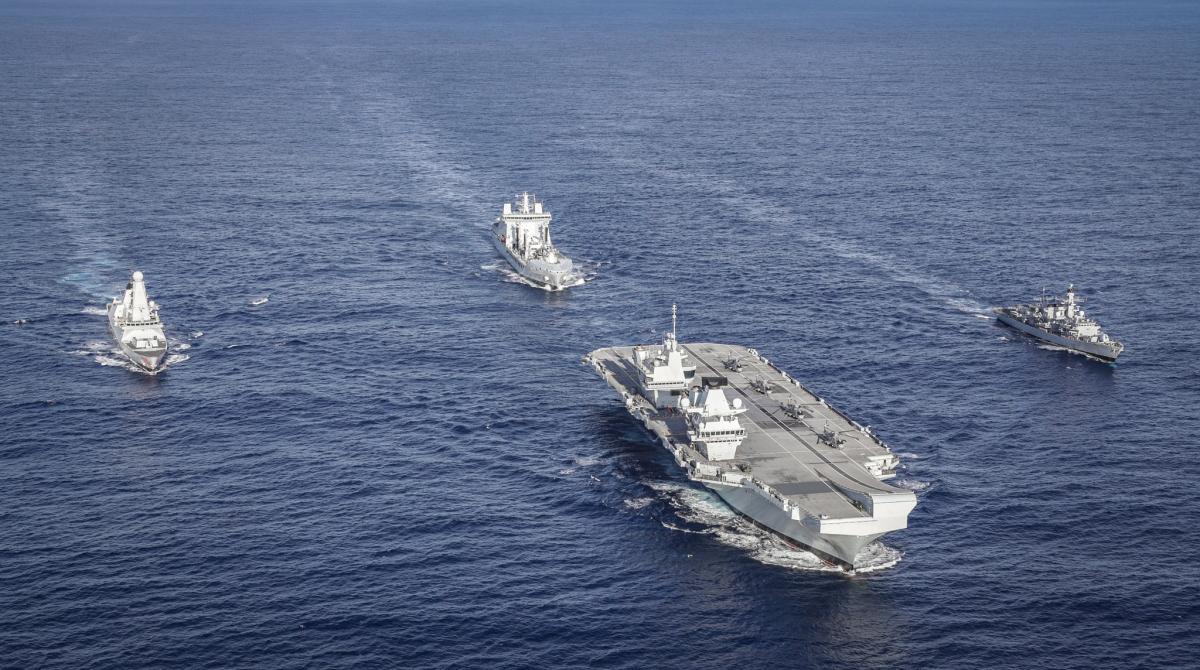 Nhóm tác chiến tàu sân bay HMS Queen Elizabeth. Ảnh: Hải quân Hoàng gia Anh.