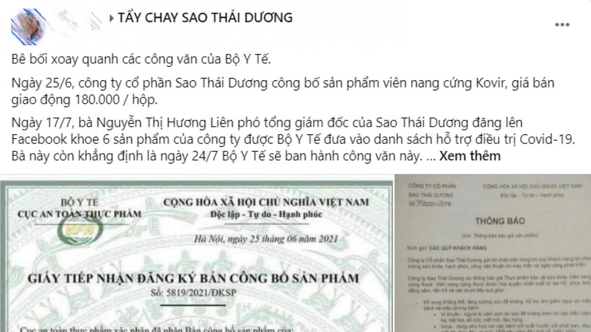 Người dân kêu gọi tẩy chay sản phẩm của Sao Thái Dương.