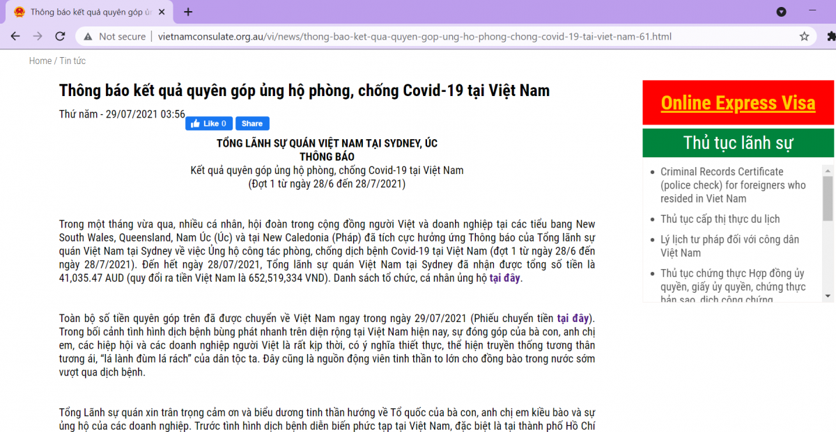 Thông tin quyên góp tiền ủng hộ nỗ lực chống dịch Covid-19 tại Việt Nam được đăng tải công khai trên trang web của Tổng lãnh sự quán Việt Nam tại Sydney.