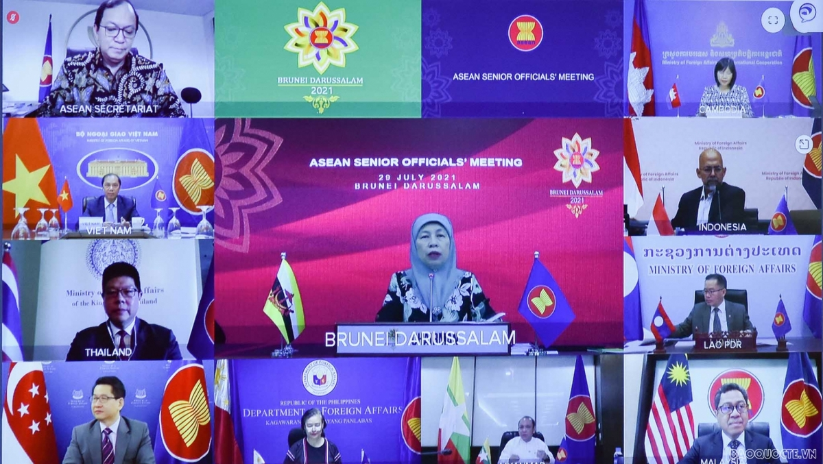 Các trưởng SOM ASEAN họp, rà soát công tác chuẩn bị Hội nghị Bộ trưởng Ngoại giao ASEAN lần thứ 54. (Ảnh: Báo Quốc tế)