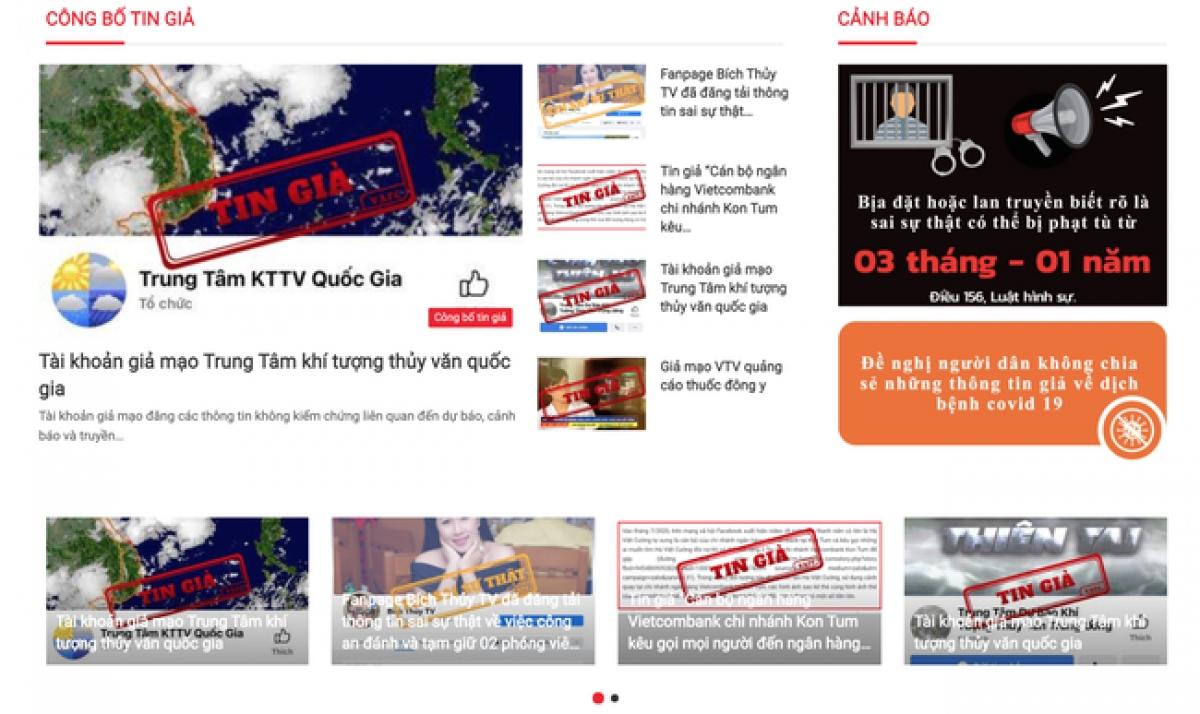 Giao diện website trung tâm xử lý tin giả Việt Nam