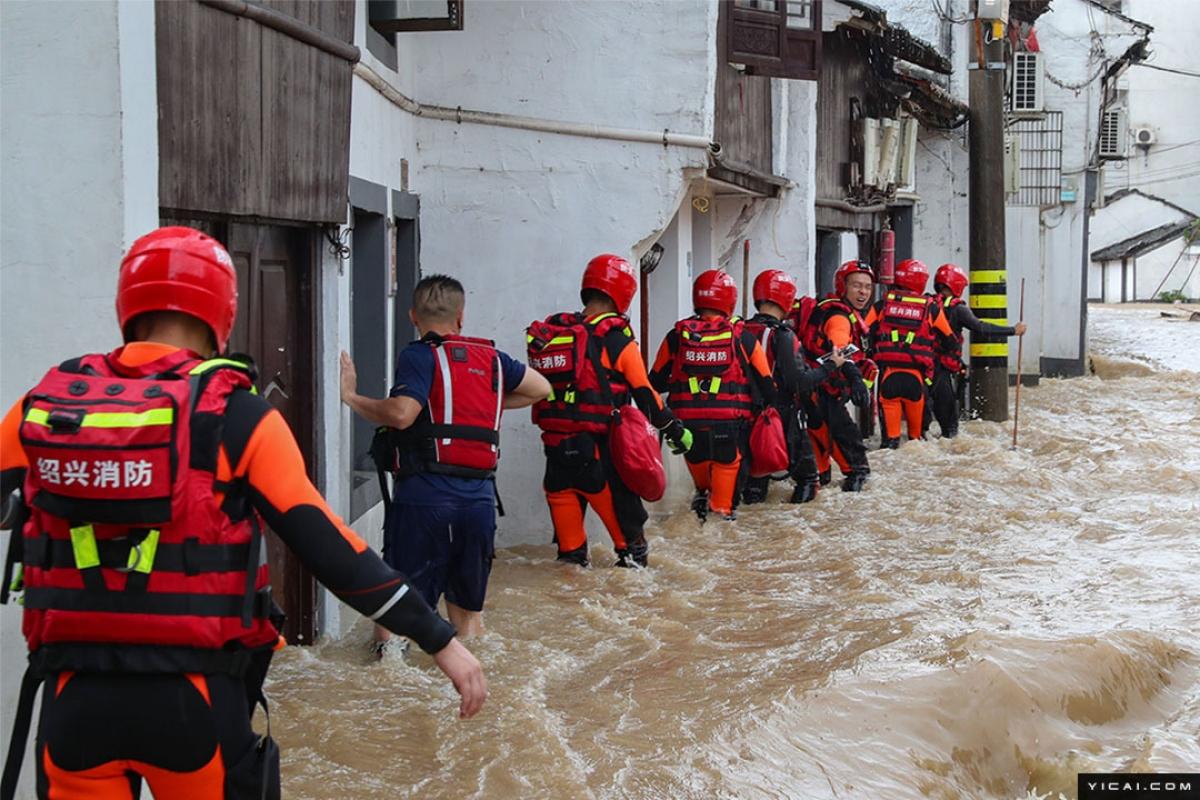 Do ảnh hưởng của bão In-Fa, nhiều địa phương của tỉnh Chiết Giang xảy ra mưa lớn. Ảnh Yicai