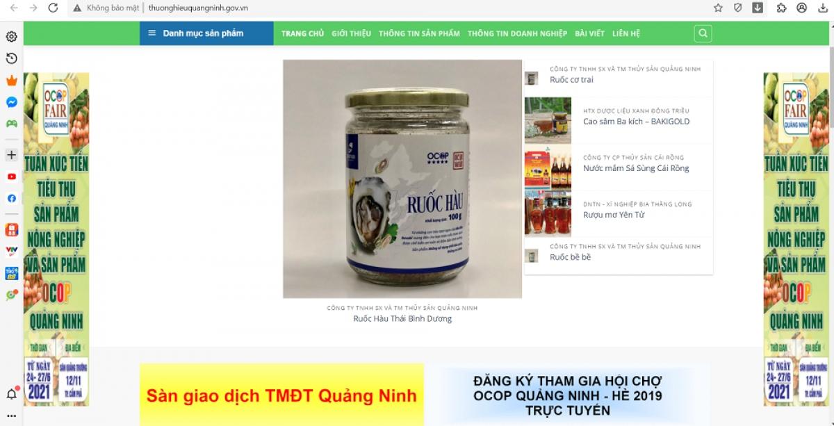 Sở Công Thương tỉnh Quảng Ninh đã củng cố các website giới thiệu, bán hơn 250 sản phẩm OCOP của khoảng 70 doanh nghiệp, HTX trên địa bàn