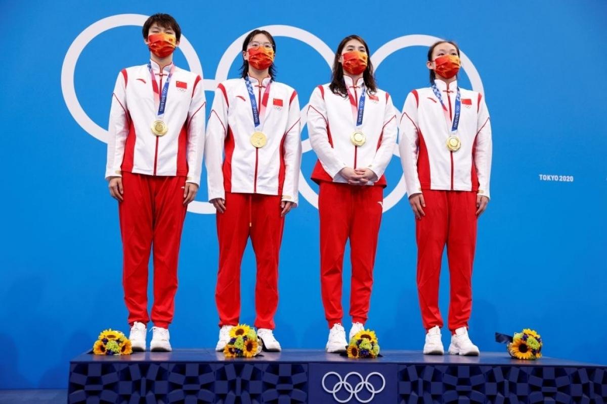 Yang Junxuan, Tang Muhan, Zhang Yufei và Li Bingjie đã giành HCV và phá kỷ lục thế giới (Ảnh: Getty).