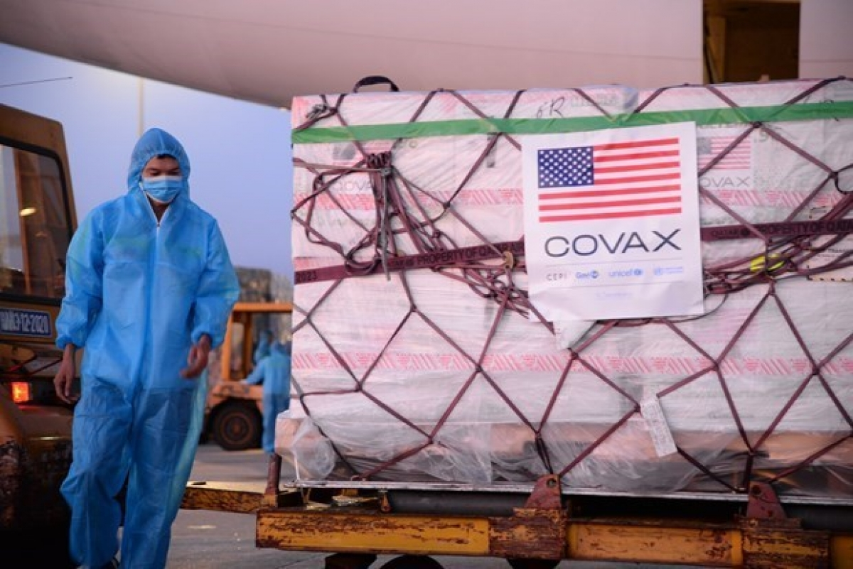 A batch of ModernaCOVID-19vaccine supported by the US Government at Noi Bai International Airport in Hanoi on July 10. (Photo credit: WHO)